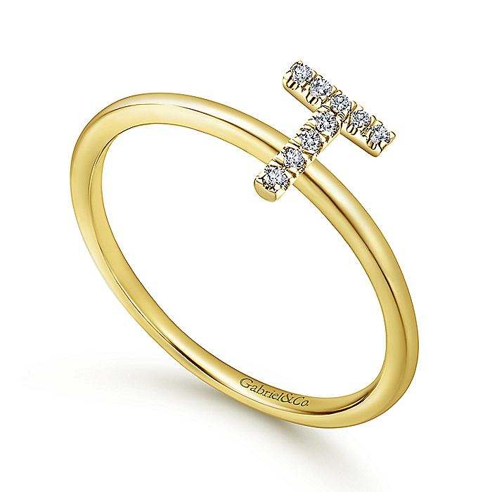14K Yellow Gold Pavé Diamond Uppercase T Initial Ring