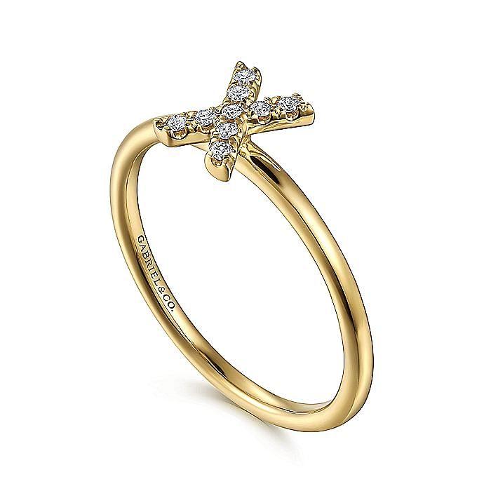 14K Yellow Gold Pavé Diamond Uppercase X Initial Ring