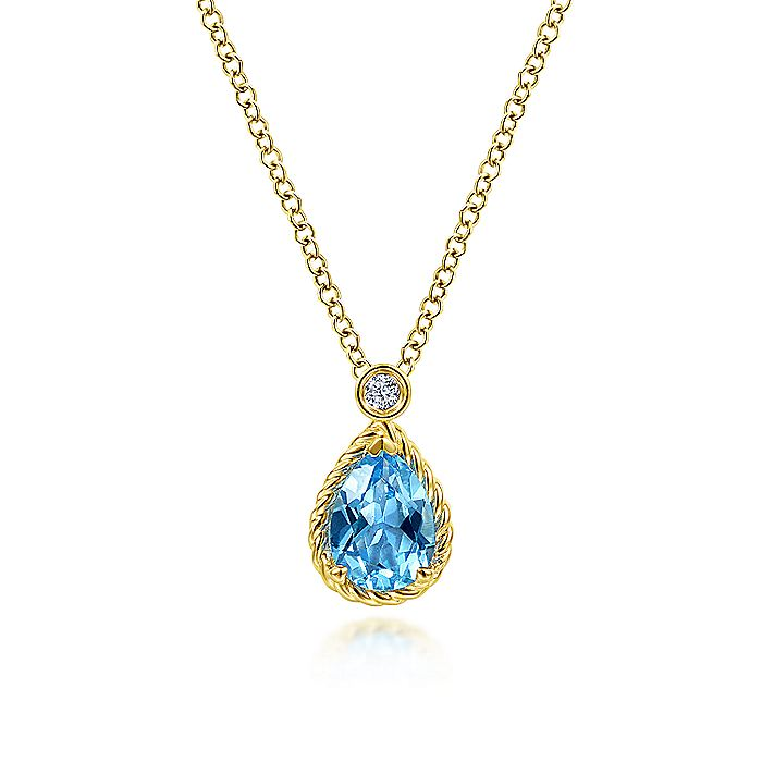 14K Yellow Gold Pear Shape Blue Topaz Pendant Necklace with Bezel Set Diamond