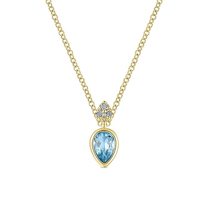 14K Yellow Gold Pear Shape Blue Topaz Pendant Necklace with Diamond Accents