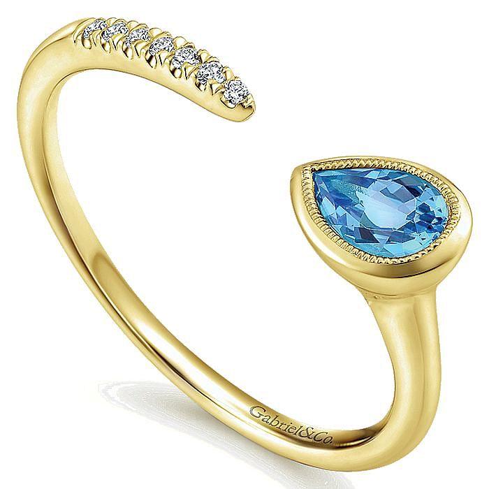 14K Yellow Gold Pear Shape Blue Topaz and Diamond Split Ring