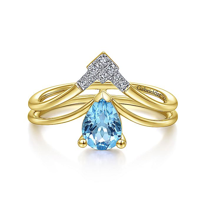 14K Yellow Gold Pear Shape Blue Topaz and Diamond V Ring