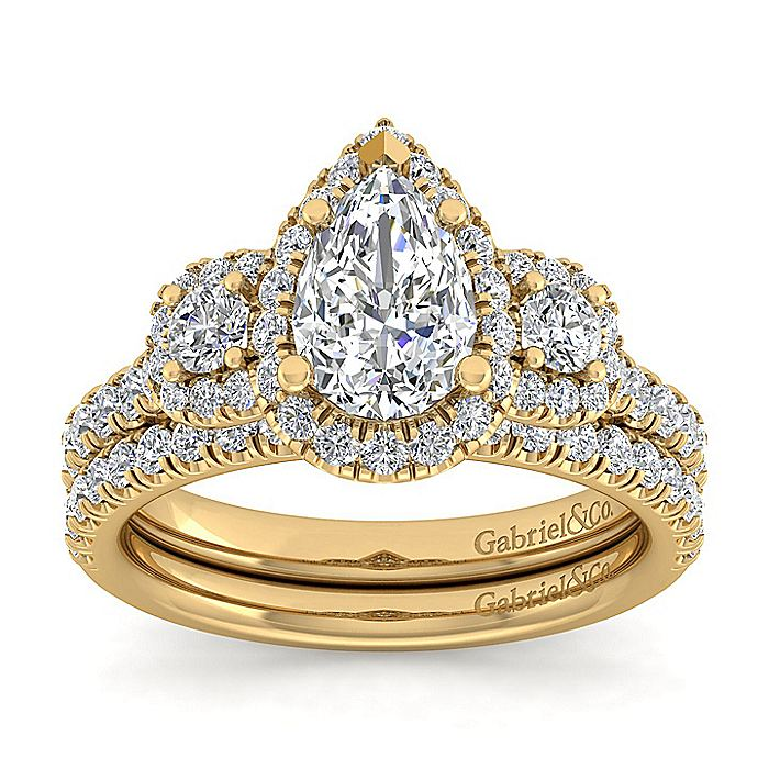 14K Yellow Gold Pear Shape Diamond Engagement Ring