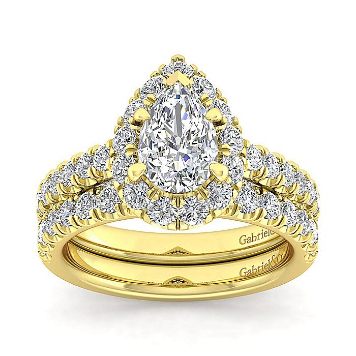 14K Yellow Gold Pear Shape Halo Diamond Engagement Ring
