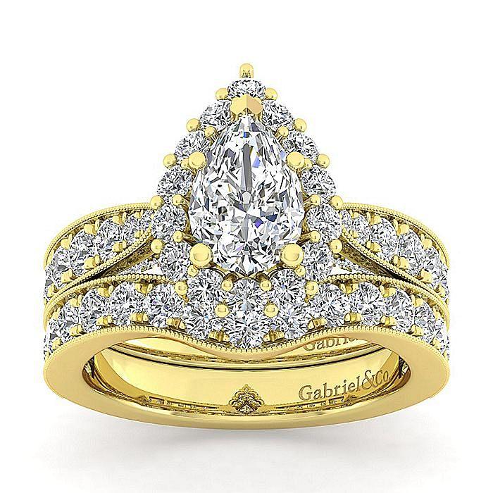 14K Yellow Gold Pear Shape Halo Diamond Engagement Ring