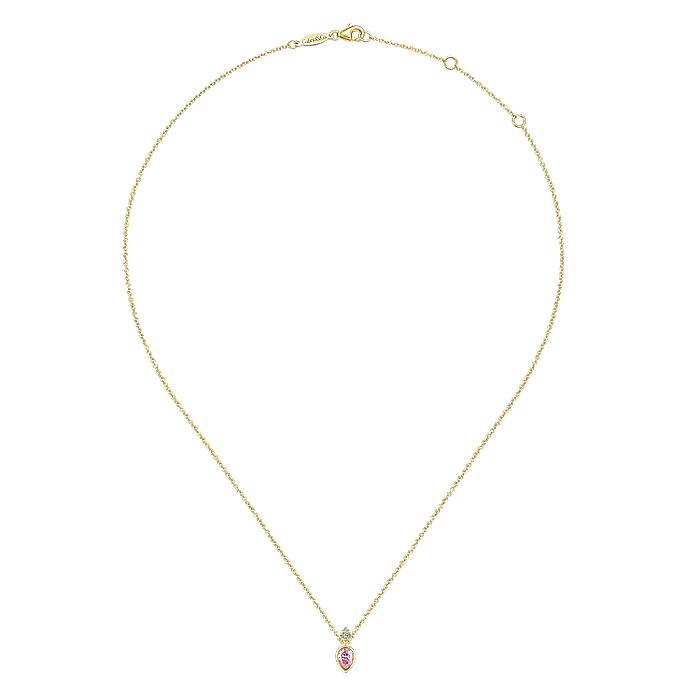 14K Yellow Gold Pear Shape Pink Created Zircon Pendant Necklace with Diamond Accents