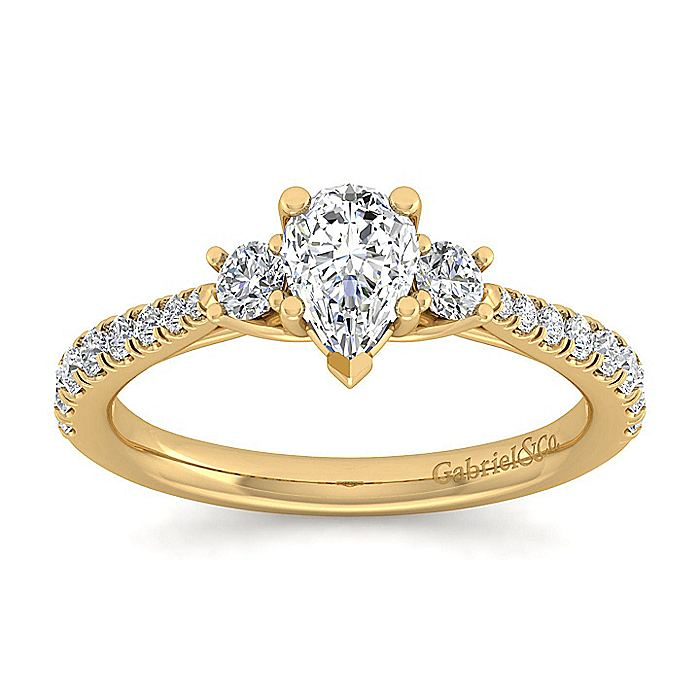 14K Yellow Gold Pear Shape Three Stone Diamond Engagement Ring