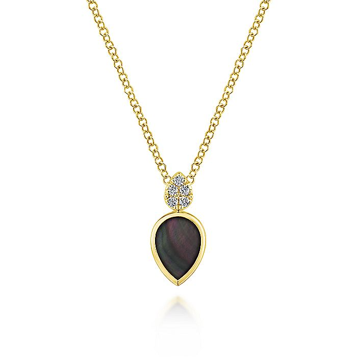 14K Yellow Gold Pear Shaped Black Mother Of Pearl and Diamond Pendant Necklace