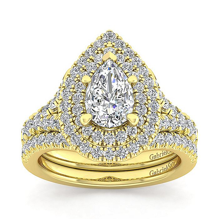 14K Yellow Gold Pear Shaped Double Halo Diamond Engagement Ring
