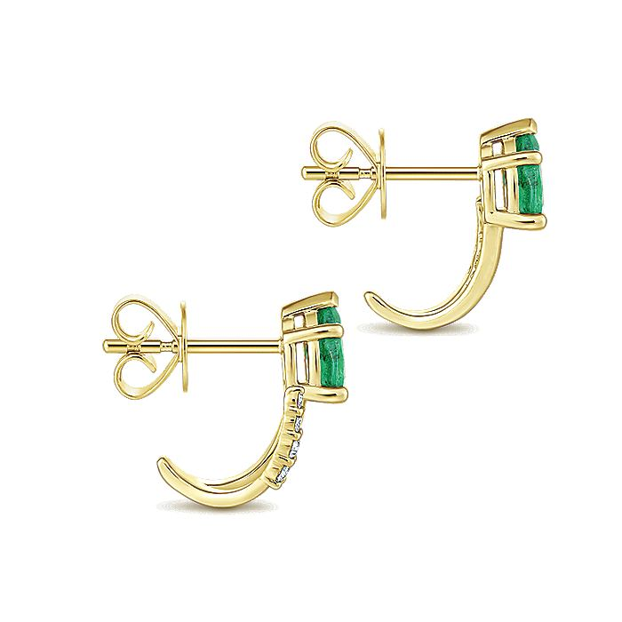 14K Yellow Gold Pear Shaped Emerald and Diamond J Curve Stud Earrings