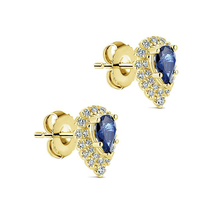 14K Yellow Gold Pear Shaped Halo Diamond and Sapphire Stud Earrings