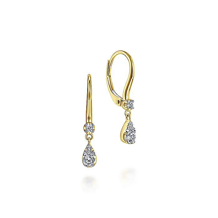 14K Yellow Gold Pear Shaped Pavé Diamond Drop Earrings