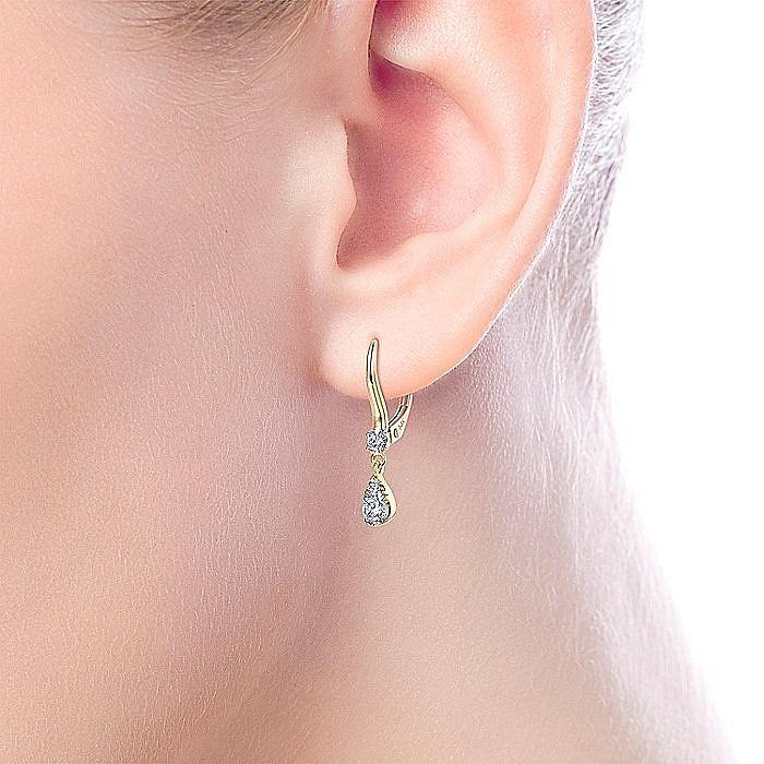 14K Yellow Gold Pear Shaped pave Diamond Drop Earrings