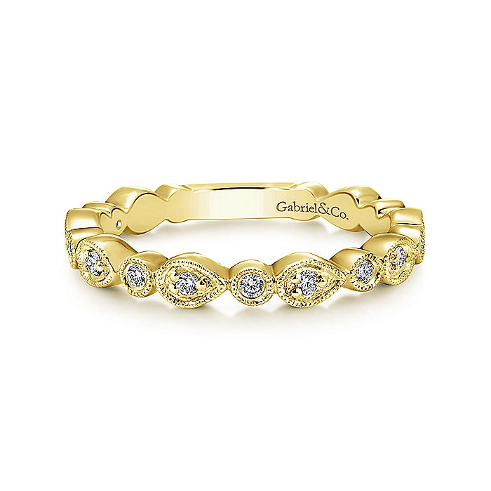 14K Yellow Gold Pear and Round Station Stackable Diamond Ring