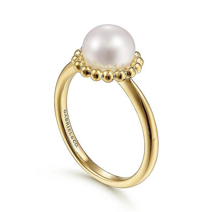 14K Yellow Gold Pearl Ring with Bujukan Beaded Halo