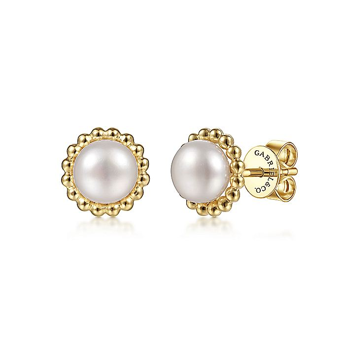 14K Yellow Gold Pearl with Beaded Frame Stud Earrings