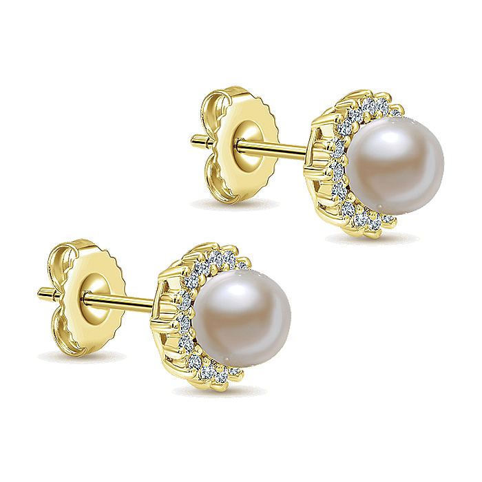 14K Yellow Gold Pearl with Diamond Halo Stud Earrings