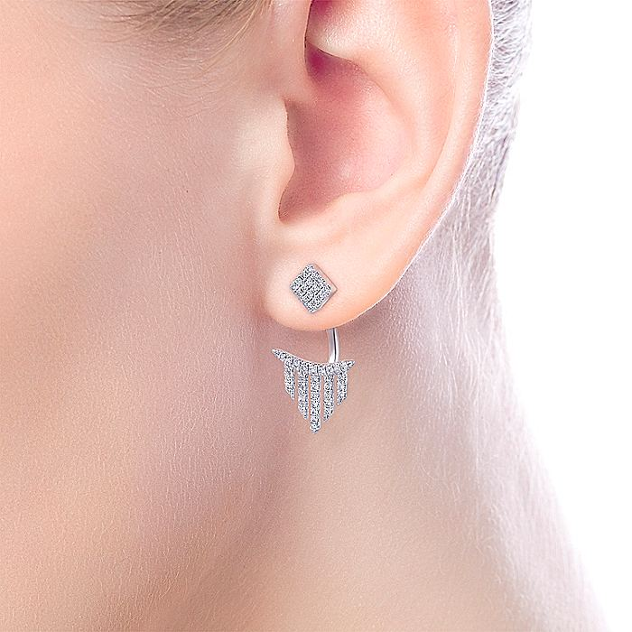 14K Yellow Gold Peek A Boo Petal Diamond Earrings