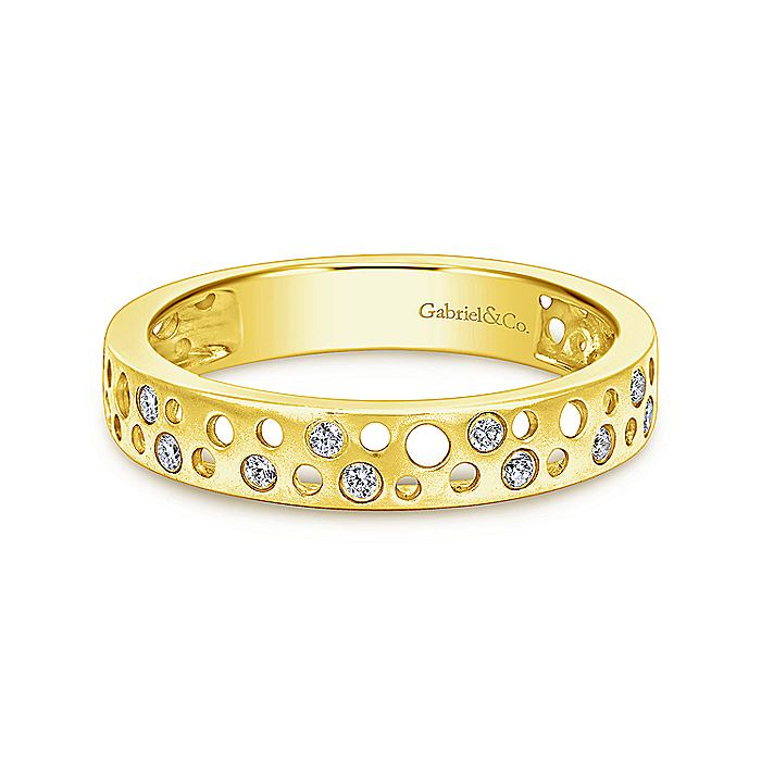 14K Yellow Gold Perforated Diamond Ring