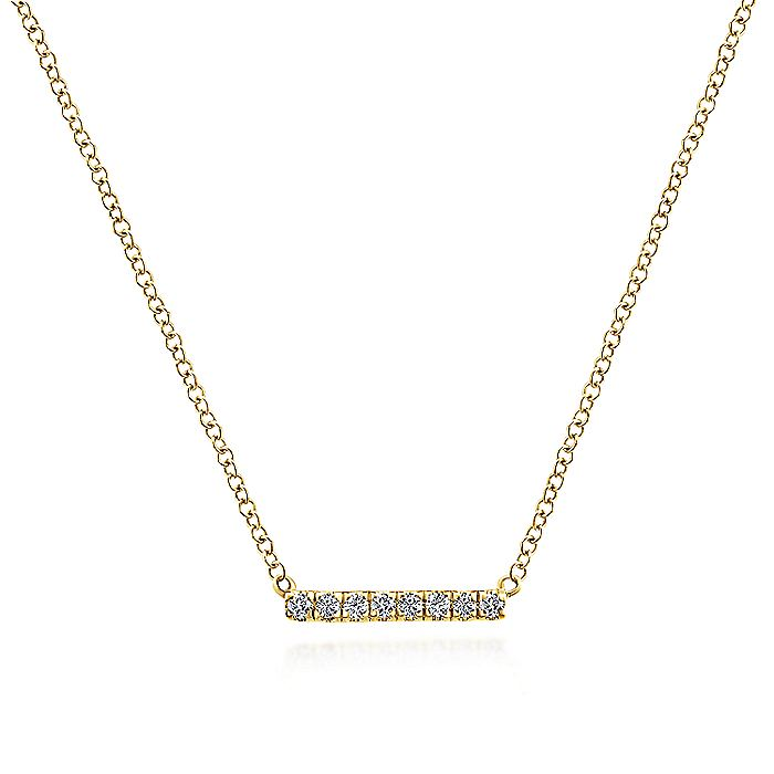 14K Yellow Gold Petite Pavé Diamond Bar Pendant Necklace