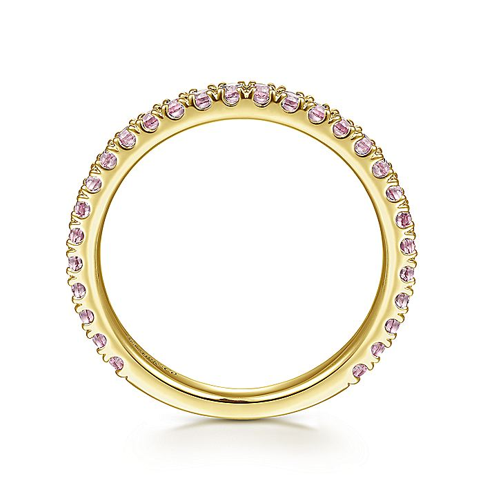 14K Yellow Gold Pink Created Zircon Stackable Ring