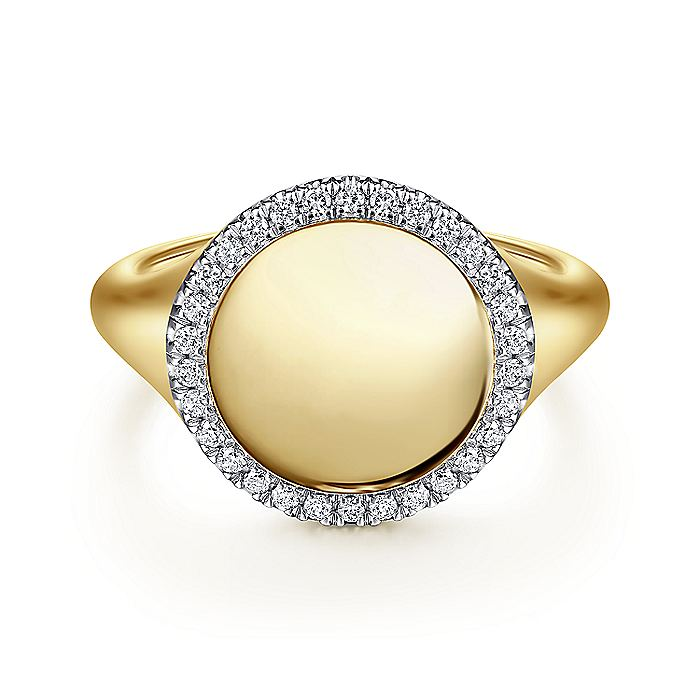 14K Yellow Gold Pinky Signet Ring with Diamond Halo