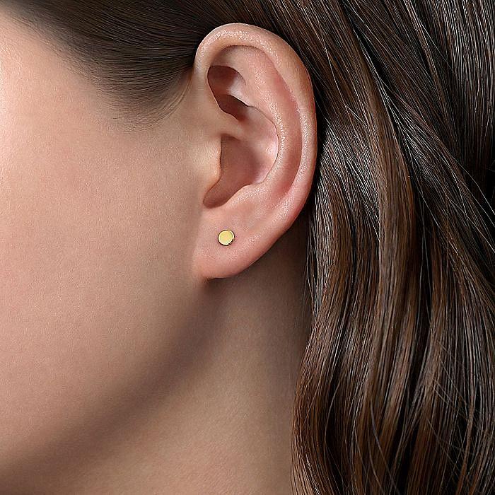 14K Yellow Gold Plain Earrings