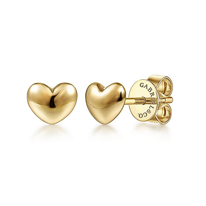 14K Yellow Gold Plain Heart Stud Earrings