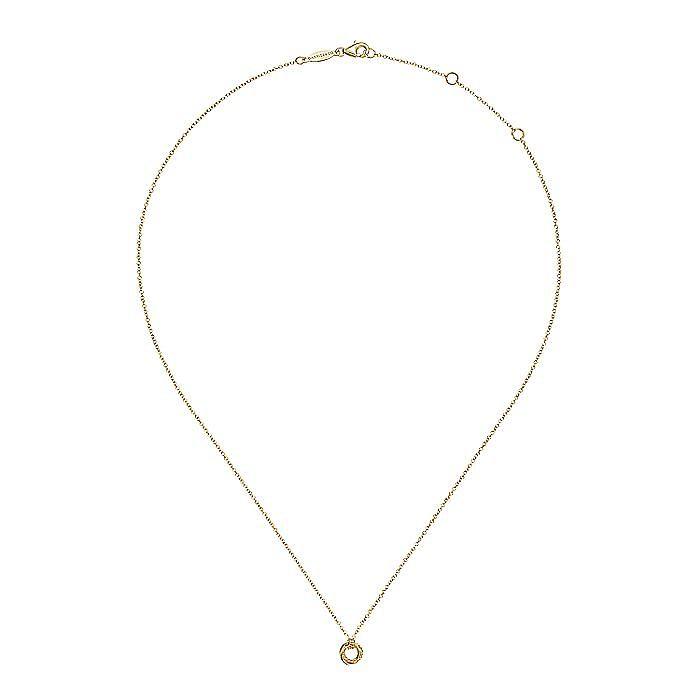 14K Yellow Gold Plain and Bujukan Beaded Interlocking Circles Pendant Necklace