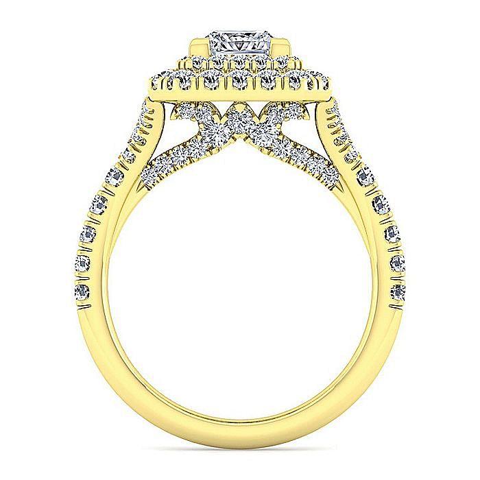 14K Yellow Gold Princess Cut Diamond Engagement Ring