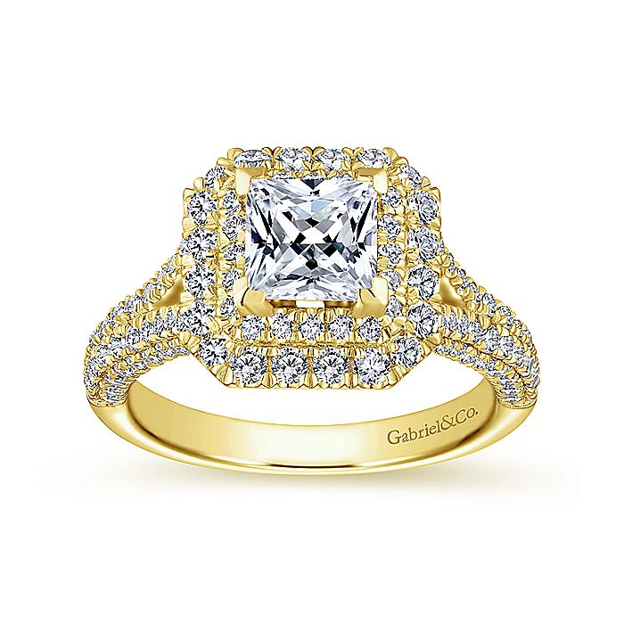 14K Yellow Gold Princess Cut Diamond Engagement Ring
