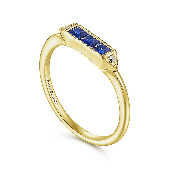 14K Yellow Gold Princess Cut Sapphire Trio and Diamond Ring