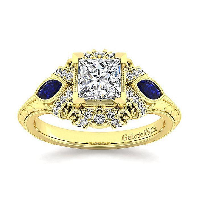 14K Yellow Gold Princess Cut Sapphire and Diamond Engagement Ring