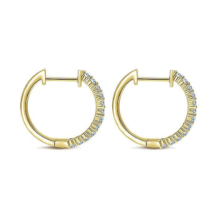 14K Yellow Gold Prong Set 15mm Round Classic Diamond Hoop Earrings