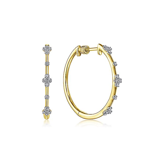 14K Yellow Gold Prong Set 20mm Round Classic Diamond Hoop Earrings