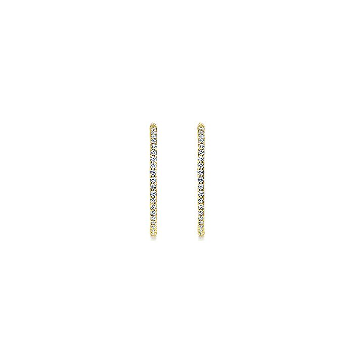14K Yellow Gold Prong Set 25mm Round Inside Out Diamond Hoop Earrings