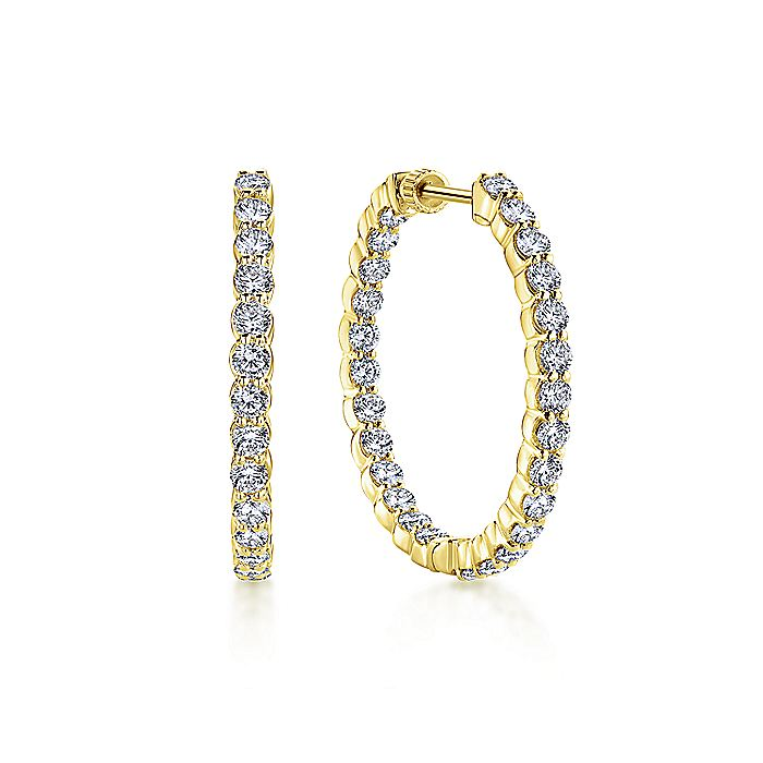 14K Yellow Gold Prong Set 30mm Round Inside Out Diamond Hoop Earrings