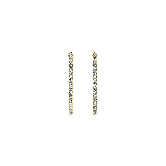 14K Yellow Gold Prong Set 35mm Round Inside Out Diamond Hoop Earrings
