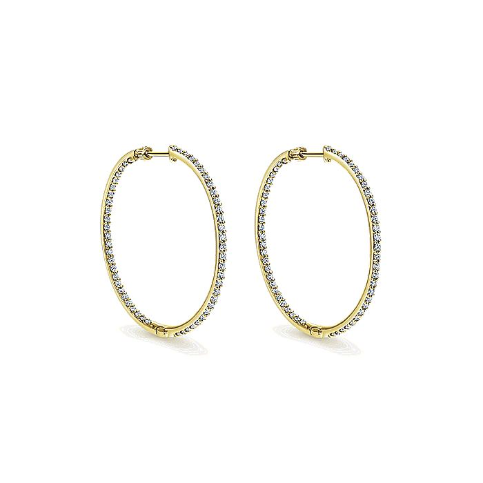 14K Yellow Gold Prong Set 40mm Round Inside Out Diamond Hoop Earrings