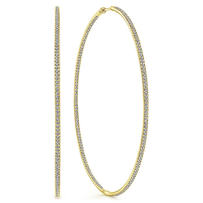 14K Yellow Gold Prong Set 80mm Round Inside Out Diamond Hoop Earrings