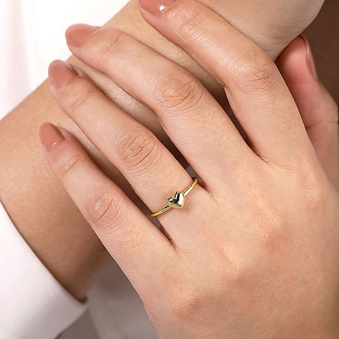 14K Yellow Gold Puffed Heart Ring