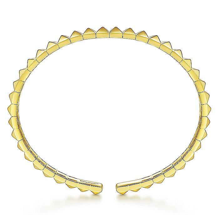 14K Yellow Gold Pyramid Cuff Bangle