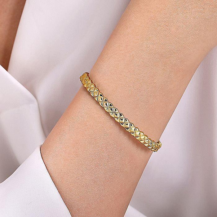 14K Yellow Gold Quilt Pattern Cuff Bracelet