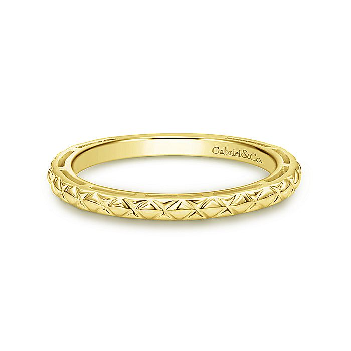 14K Yellow Gold Quilted Pattern Stackable  Ring