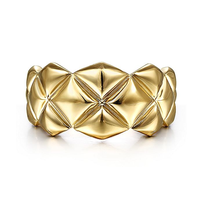 14K Yellow Gold Quilted Pattern Wide Band