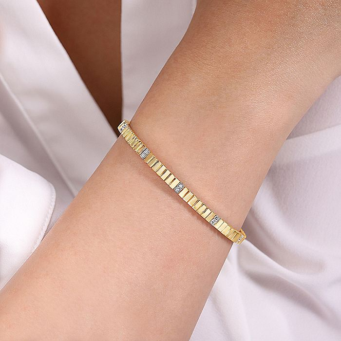 14K Yellow Gold Rectangular Bead Cuff Bracelet with White Gold Pavé Diamond Stations