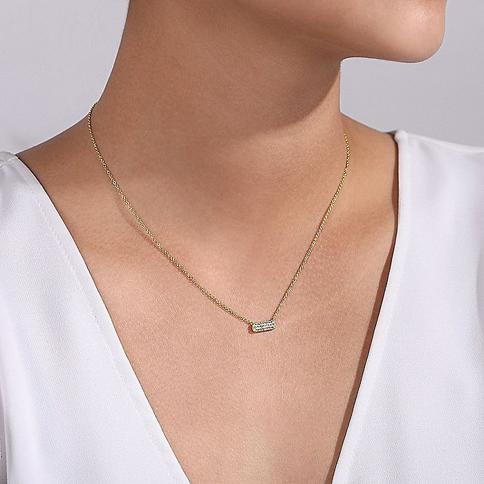 14K Yellow Gold Rectangular Diamond Pendant Necklace