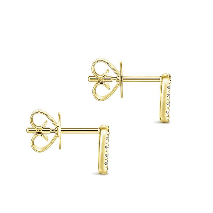 14K Yellow Gold Rectangular Open Pavé Diamond Stud Earrings