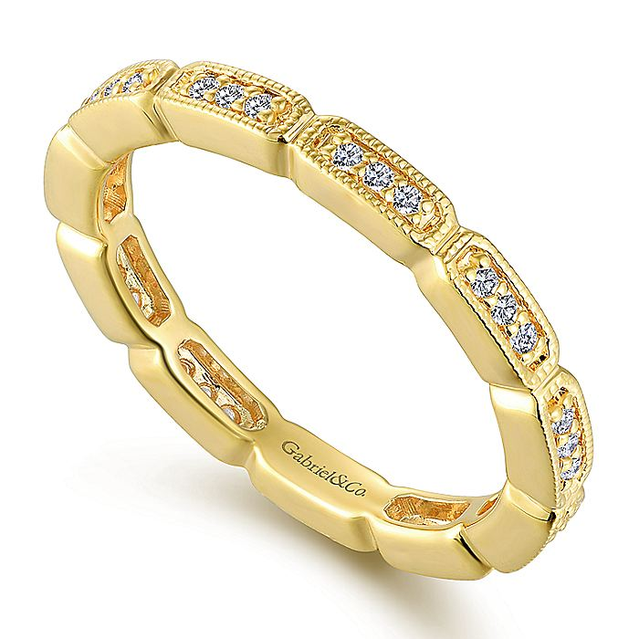 14K Yellow Gold Rectangular Station Diamond Eternity Ring