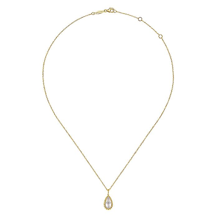 14K Yellow Gold Rock Crystal/MOP Pendant Necklace with Bujukan Beads